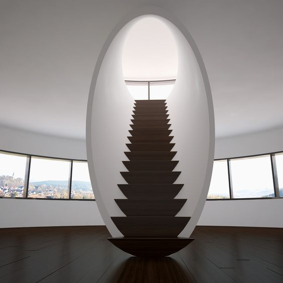 Nguyên lý chịu lực về cơ bản giống thang thang chịu lực bằng bản thang. Phần vòm tròn được thiết kế treo vào sàn và gác vào dầm trên trần. Một đoạn dầm thang được giấu cẩn thận dưới lớp bê tông trắng, tạo cho chiếc thang có một bề mặt hoàn hảo