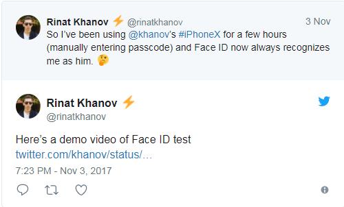 Tôi dùng iPhone X của anh trai được vài tiếng (bằng cách nhập mã), thế là Face ID nhận nhầm tôi là Khanov luôn.