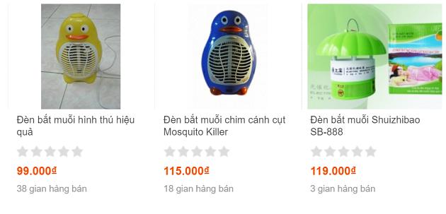 Những chiếc đèn bắt muỗi hàng nhái có giá chỉ trên dưới 100.000 đồng.