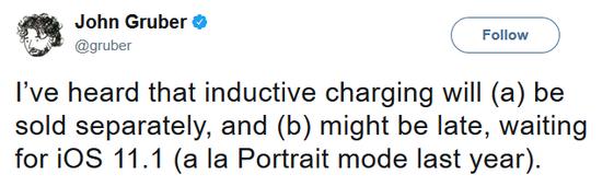 Sạc không dây sẽ được bán riêng, và phải đến iOS 11.1 mới hỗ trợ công nghệ này