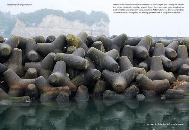 Những trụ chắn sóng ven biển bằng bê tông.