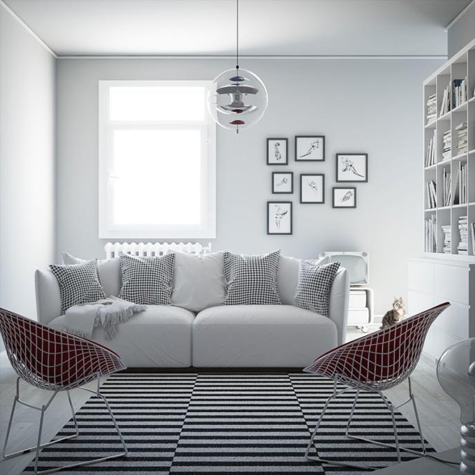 Những chiếc ghế bành lớn được ưu tiên sử dụng trong không gian Bắc Âu. Màu sắc bạn có thể thỏa thích lựa chọn. Từ màu trung tính như trắng, xám, đến các màu sắc tươi sáng như xanh dương, vàng nhạt hoặc thậm chí cả màu đen. Chỉ có một điểm cần lưu ý ở đây, họa tiết và hoa văn cần được tiết giảm tối đa, thậm chí không xuất hiện trong phong cách Scandinavia.
