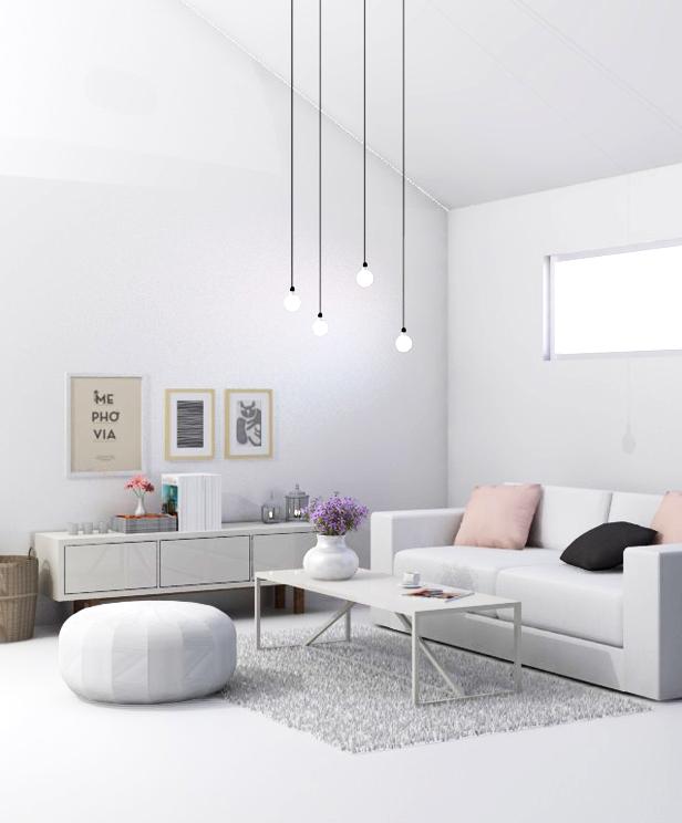 Màu trắng là một phông nền hoàn hảo cho ánh sáng và các chất liệu khác của đồ nội thất