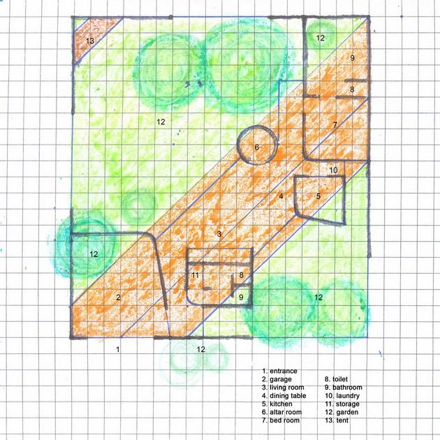 Bản vẽ phác thảo mặt bằng của kiến trúc sư. Ngôi nhà không yêu cầu quá nhiều công năng, tuy nhiên, việc thiết lập môt không gian liên tục góc nghiêng 45 độ so với khu đất giúp mọi không gian đều có khoảng xanh để hưởng thụ, đồng thời, tạo khoảng lùi đáng kể và tạo ra những không gian cách nhiệt hiệu quả nhờ cây và bóng mát của nó.