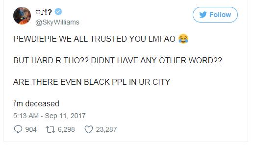 Chúng tôi đều tin ông, thế mà sao ông lại dùng từ đó?? Nơi ông sống có người da đen nào không??