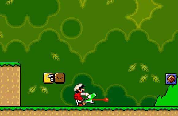 Mario đã thò tay ra đấm Yoshi, khiến nó lè lưỡi