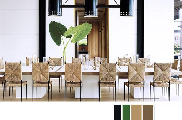 Một phòng ăn nhẹ nhàng với tone màu trắng kem làm chủ đạo, ghế và sàn gỗ màu be dịu cùng màu xanh nhấn nhá của cây xanh.