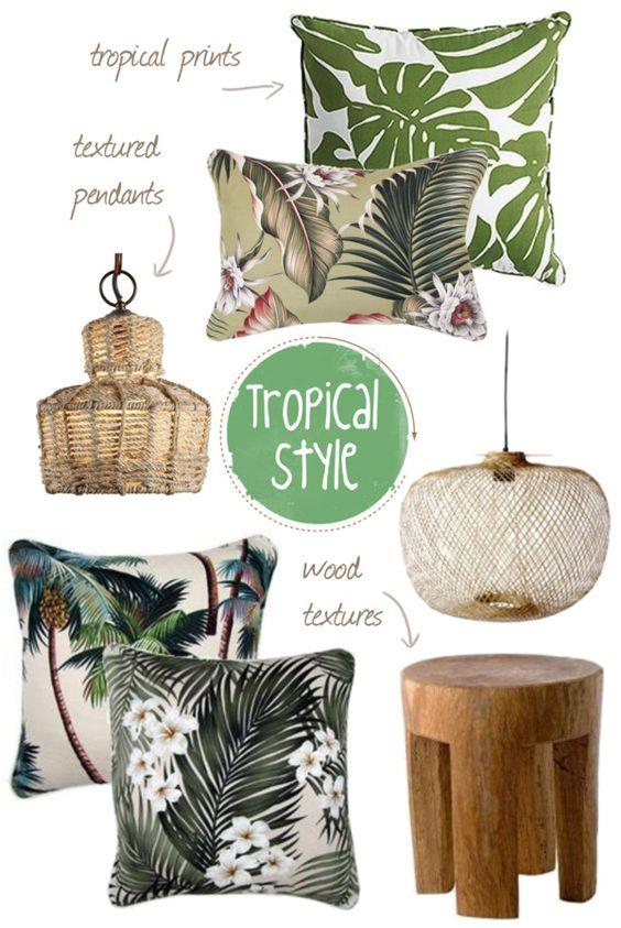 Một số đồ nội thất của phong cách Tropical Style. Họa tiết hoa lá, cây cỏ được sử dụng thường xuyên trong phong cách này, nhằm đem lại hiệu quả tốt nhất về thị giác của cả tổng thể không gian.
