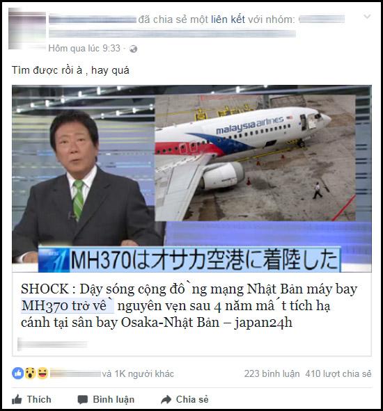 Tin đồn thất thiệt về sự trở lại của MH370 lan truyền chóng mặt trên mạng xã hội