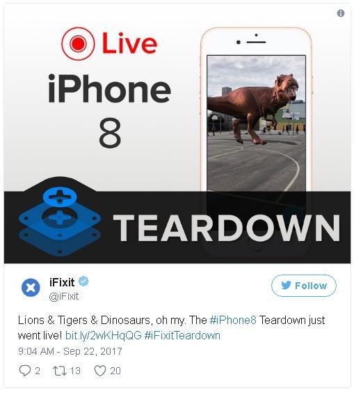 iFixit tường thuật trực tiếp quá trình mổ iPhone 8 tại Úc trên trang chủ.