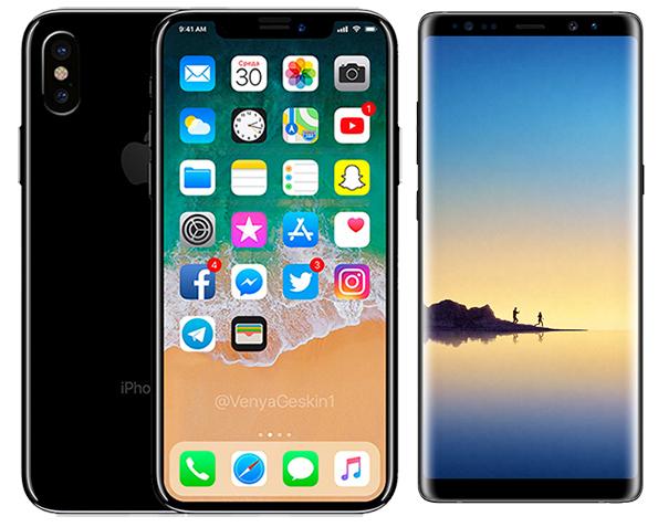 Bản dựng iPhone 8 đặt cạnh Galaxy Note8
