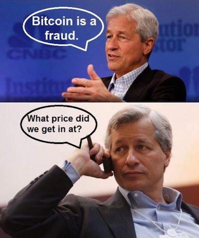 Bitcoin là trò bịp - Chúng ta đã mua vào giá bao nhiêu nhỉ? - Người ta chế giễu trò làm giá bitcoin của ông Jamie Dimon