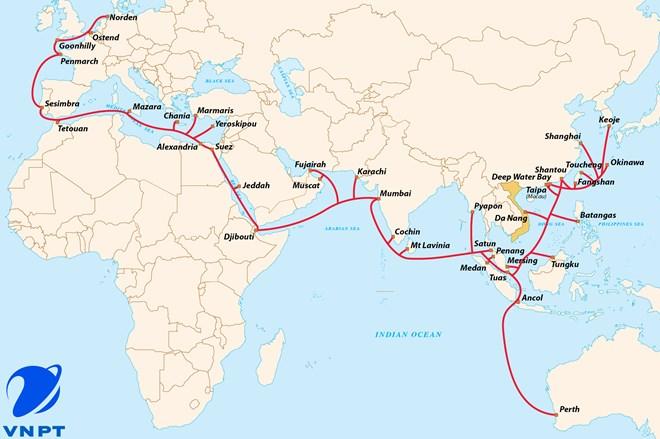 Đường đi của tuyến cáp SMW-3. (Nguồn: VNPT)