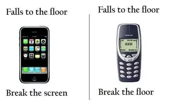 Iphone: Rơi xuống sàn nhà, màn hình vỡ tan  Nokia: Rơi xuống sàn nhà, sàn nhà vỡ tan