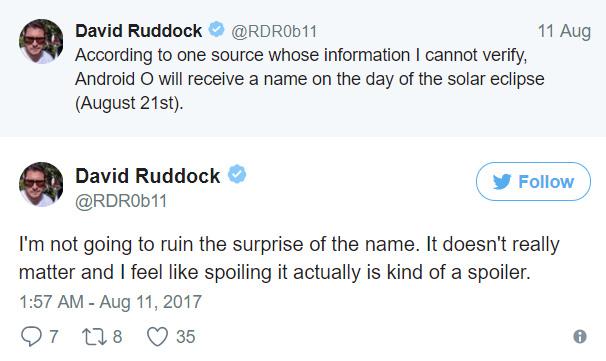 """""""Tôi sẽ không làm mất đi sự ngạc nhiên và háo hức của mọi người đối với cái tên mới. Chuyện đó không cần thiết, với nói toẹt ra điều đó khác gì kể luôn kết thúc phim"""" – David Ruddock (@RDROb11), 10/8/2017"""