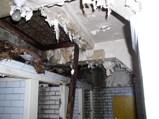 Tất cả những gì còn lại là một công trình cũ với đống đổ nát, các bức tường bong tróc, trên sàn đầy rác rưởi và chuột bọ
