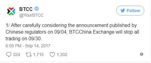 BTCC thông báo đóng cửa