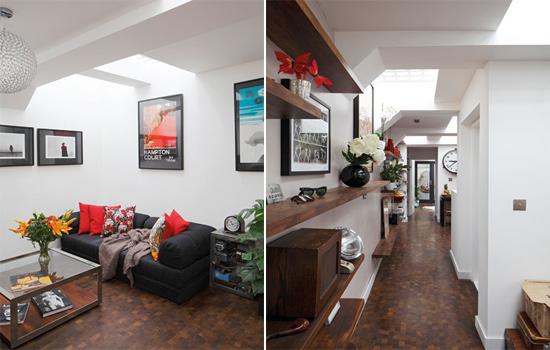 Căn nhà có tông màu chủ đạo là trắng, rất hài hòa mà lại dễ dàng phối với đồ nội thất mang màu sắc nổi bật khác. Laura chọn sàn gỗ chống ẩm cho sàn nhà vì không gian dưới hầm mát nhưng khá ẩm ướt.
