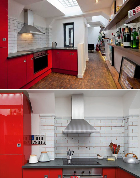 Căn bếp tuy nhỏ nhưng vô cùng ấm áp và ngăn nắp với tông màu trắng và đỏ làm chủ đạo, tủ bếp hình chữ L được khéo léo thiết kế vừa tiết kiệm diện tích cho căn bếp, vừa tiện lợi và có thể chứa được nhiều đồ