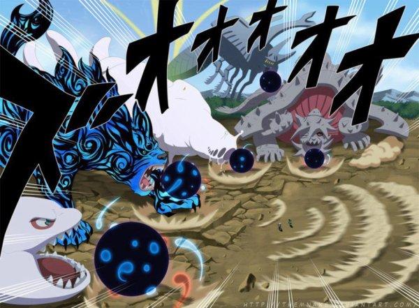 Khi Obito điều khiển Lục Đạo Jinchuuriki hóa Vĩ Hình, ông đã điều khiển chúng sử dụng Bom Vĩ Thú đồng loạt nhằm đánh đòn quyết định. Năm quả bom này bị Naruto dùng lượng charka cực lớn tạo nên một vòng cuốn, bật các quả bom này sang hủy hoại các quả núi gần đó.