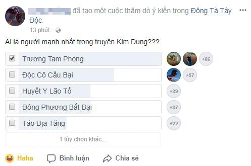 Rất nhiều người chơi Đông Tà Tây Độc nói riêng và độc giả Kim Dung nói chung đều cho rằng Trương Tam Phong là người mạnh nhất truyện Kim Dung