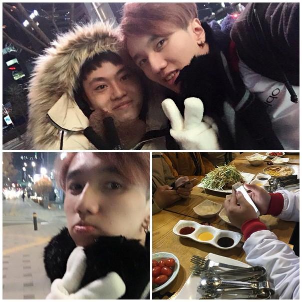 Bé Chanh selfile với các đồng đội đêm 21/11 khi mới đặt chân tới Hàn Quốc (nguồn: FB Nguyễn Trung)