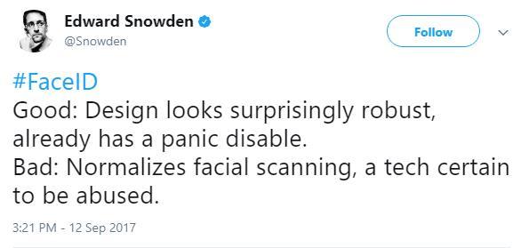 Snowden đánh giá về Face ID.