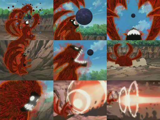 Khi Naruto hóa thành Cữu Vĩ 4 đuôi trong tình trạng mất tự chủ, cậu đã dùng bom Vĩ Thú tấn công Orochimaru. Tuy nhiên, quả bom này không mạnh lắm nên khi Orochimaru triệu hồi ba cổng Tam Sinh Môn vẫn có thể ngăn cản được.