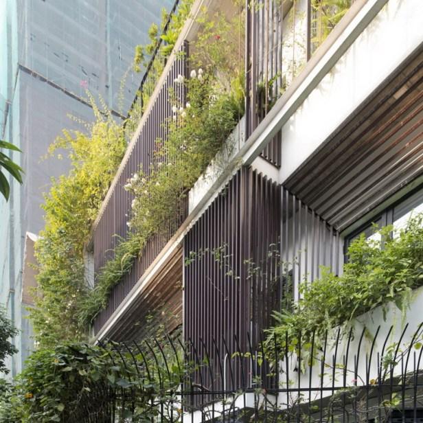Không chỉ có cây xanh mà trên các tầng chủ nhân cũng trồng rất nhiều loại hoa tạo hương thơm mát cho toàn bộ ngôi nhà