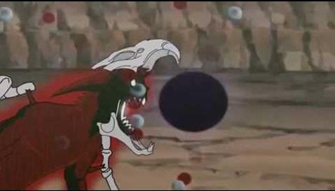 Lúc giao chiến với Pain - Thiên Đạo, Naruto cũng mất kiểm soát và hóa thành Cửu Vĩ Sáu Đuôi. Ở trạng thái này, cơ thể cậu có thêm một số khung xương bao bọc. Naruto đã dùng bom Vĩ Thú tấn công Pain không thành nhưng vẫn gây ra 1 vụ nổ lớn.