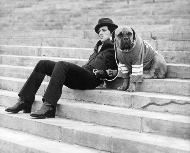 Sylvester Stallone bên cạnh chú chó Butkus