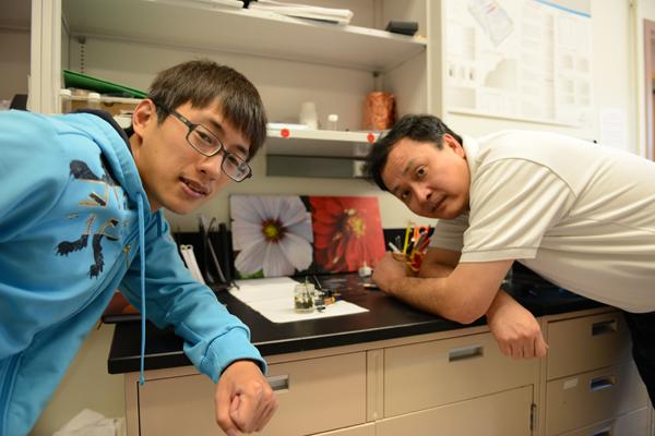 Chàng sinh viên Ming Gong (trái) và giáo sư Hongjie Dai của trường Stanford đã phát triển thành công loại pin nhôm-ion