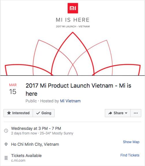 Sự kiện Xiaomi ra mắt tại Việt Nam sẽ được diễn ra vào lúc 3h chiều ngày 15/3