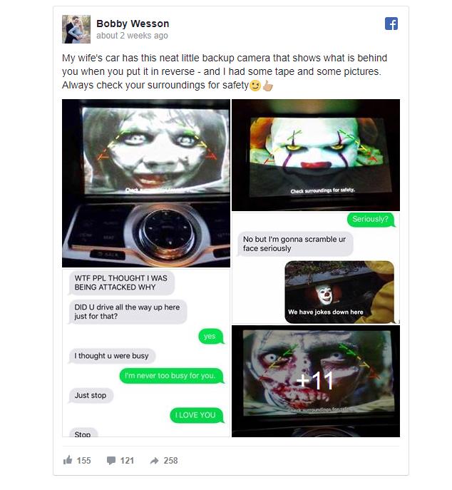 [Vui] Với vài tấm ảnh trong phim kinh dị cùng camera lùi trên ô tô, anh chồng khiến vợ sợ chết khiếp - Ảnh 1.