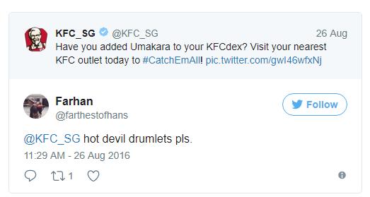 - KFC Singapore: Thực khách đã thử món gà Umakara mới chưa? Tới ngay KFC gần nhất ngay hôm nay...  - Farhan: Đùi tỏi gà siêu cay, làm ơn