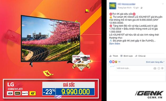 Một chiếc tivi đang được bán giảm giá cực sốc
