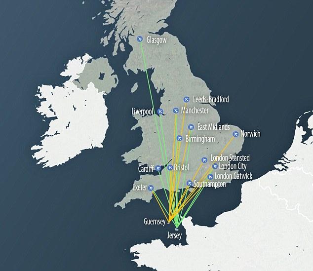 Các chuyến bay xuất phát từ Quần đảo Eo Biển tới phần đất liền nước Anh