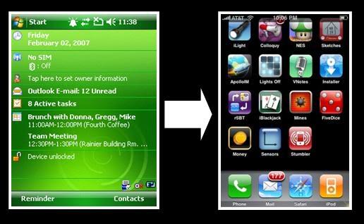Giao diện Windows Mobile và iPhone.