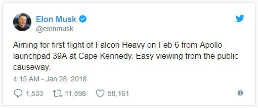 Elon Musk cũng cho biết người dân có thể chứng kiến sự kiện lịch sử của SpaceX tại các tuyến đường trên cao xung quanh khu vực phóng.