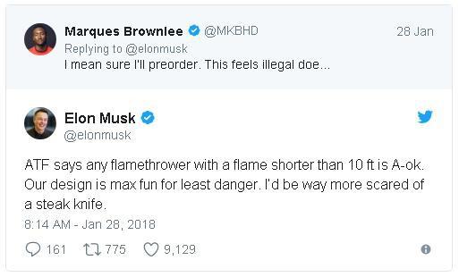 Elon Musk khẳng định chiếc súng phun lửa được thiết kế đúng với tiêu chuẩn và đảm bảo an toàn.