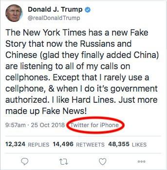 Tổng thống Donald Trump phủ nhận dùng iPhone bằng một tweet được đăng bằng... iPhone - Ảnh 1.
