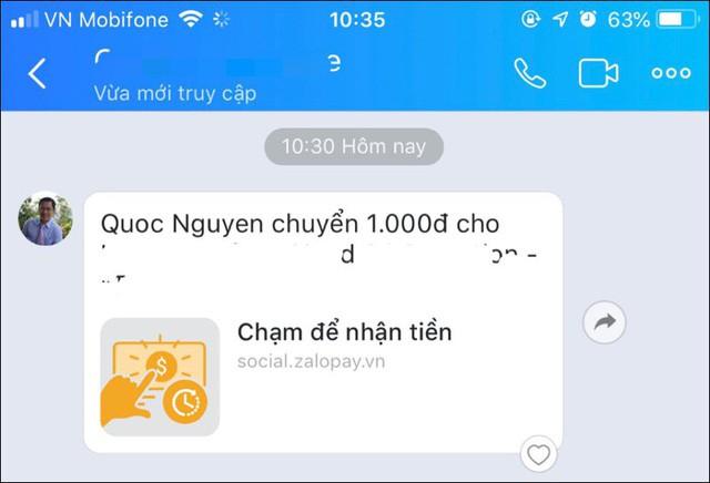 Đi trước cả Facebook Messenger một bước, giờ đây có thể vừa chat Zalo vừa chuyển tiền - Ảnh 2.