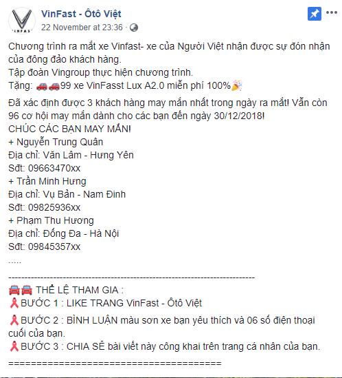 Sắp hết năm 2018 nhưng hàng nghìn dân mạng Việt vẫn bị lừa share fanpage để nhận xe Vinfast miễn phí - Ảnh 1.