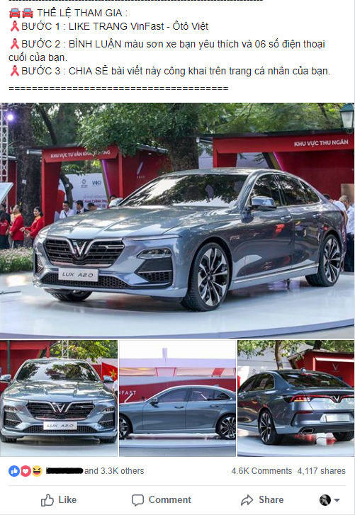 Sắp hết năm 2018 nhưng hàng nghìn dân mạng Việt vẫn bị lừa share fanpage để nhận xe Vinfast miễn phí - Ảnh 2.