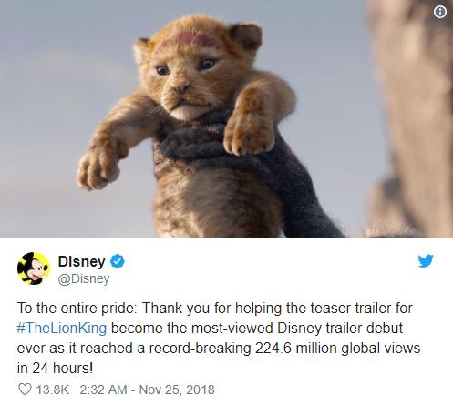 Vượt mặt Infinity War, The Lion King remake trở thành trailer được xem nhiều nhất của Disney trong 24 giờ - Ảnh 2.