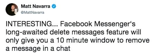 Cứ thoải mái tỏ tình với crush đi, Facebook Messenger sắp cho rút lại tin nhắn đã gửi trong vòng 10 phút - Ảnh 1.