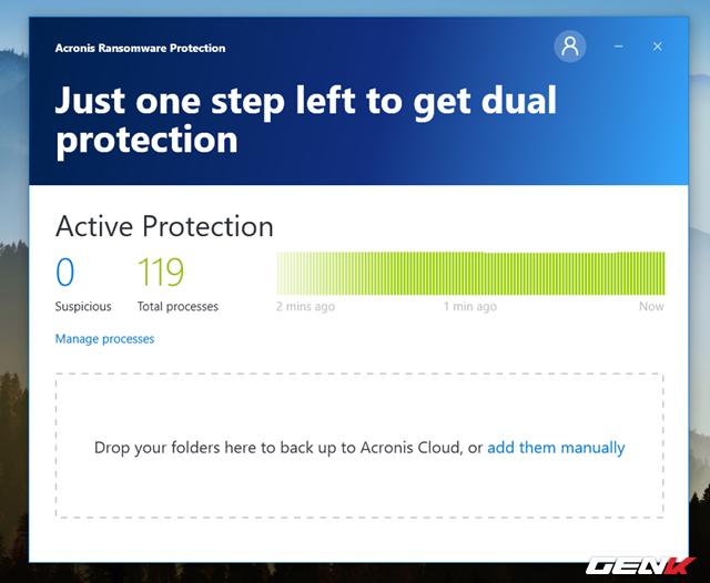 """Trường hợp nếu có tiến trình đáng ngờ cố gắng mã hóa dữ liệu trên máy tính, Acronis Ransomware Protection sẽ tiến hành ngăn chặn và hiển thị thông báo để bạn biết. Thêm vào đó, phần mềm còn cho bạn biết được """"sức khỏe"""" của máy tính thông qua biểu đồ thời gian thực trên giao diện. Nếu thấy một dãi xanh thì máy tính bạn đang an toàn chưa nhiễm mã độc hại. Còn nếu thấy dấu đỏ chứng tỏ dữ liệu trên máy đã dính ransomware."""