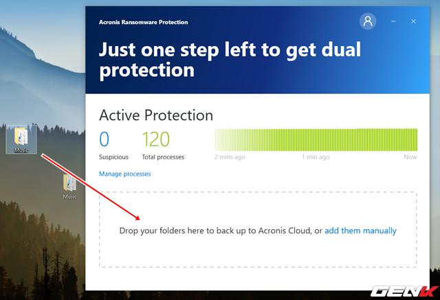 """Ngoài tính năng phòng chống ransomware, Acronis Ransomware Protection còn cung cấp cho người dùng 5 GB không gian lưu trữ đám mây để sao lưu dữ liệu. Để sử dụng, bạn chỉ việc kéo/thả tập tin, thư mục vào khu vực """"Drop your folders here to backup to Acronis Cloud,…"""""""