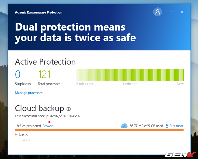 Khi nào cần tải dữ liệu từ Acronis Cloud về, bạn chỉ cần nhấn vào tùy chọn Browse.