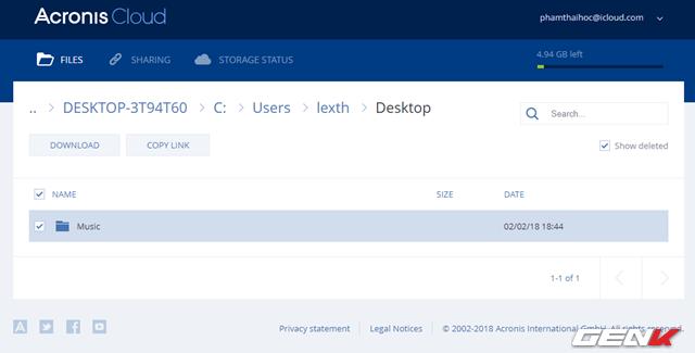 Trình duyệt web sẽ mở ra và truy cập thẳng vào tài khoản Acronis Cloud của bạn. Lúc này, bạn có thể tiến hành lựa chọn dữ liệu để tải về.